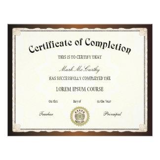 Certificado do modelo da conclusão panfletos coloridos