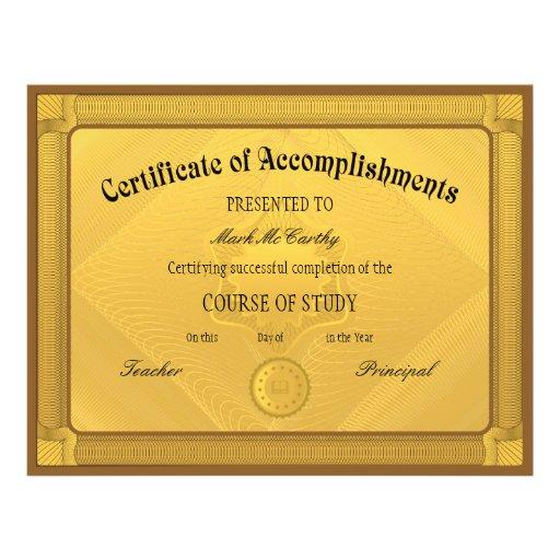 Certificado do modelo da realização panfleto personalizado