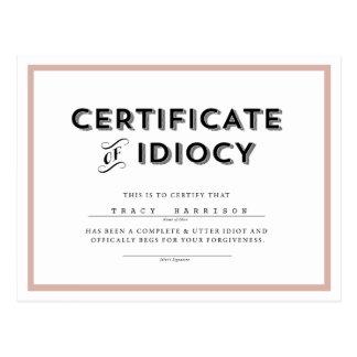 Certificado do rosa de //do cartão da desculpa do cartão postal