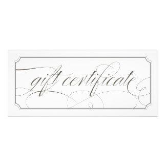 Certificados de presente elegantes cinzentos 10.16 x 22.86cm panfleto