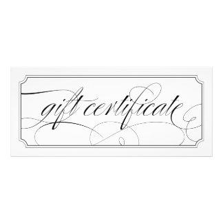 Certificados de presente elegantes preto e branco 10.16 x 22.86cm panfleto