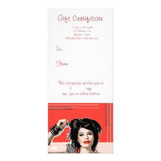 Certificados de presente vermelhos do salão de bel 10.16 x 22.86cm panfleto
