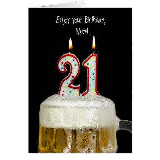 Cerveja do aniversário de 21 anos para a sobrinha cartoes