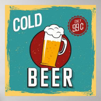 Cerveja fria do vintage retro pôster