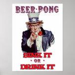 Cerveja Pong do tio Sam - afunde-a ou beba-a Impressão