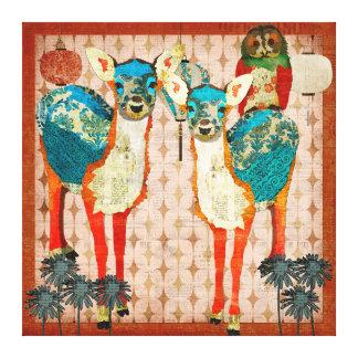 Cervos Azure & arte cor-de-rosa das canvas da fest Impressão Em Tela