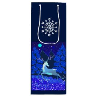 Cervos bonitos mágicos do Natal com sino Sacola Para Vinho