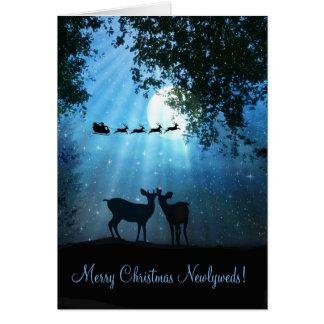 Cervos bonitos no cartão do Xmas do Newlywed do