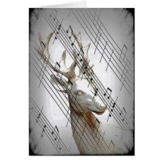 Cervos com notas musicais cartão