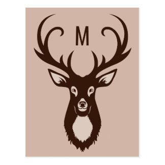 Cervos com seu cartão do costume do monograma