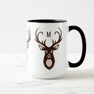 Cervos com suas canecas do costume do monograma
