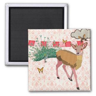 Cervos cor-de-rosa do ouro & ímã cor-de-rosa do pa ímã quadrado