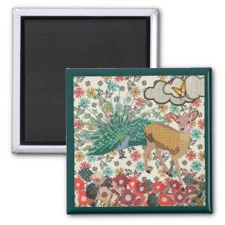 Cervos cor-de-rosa do ouro & ímã floral do pavão ímã quadrado