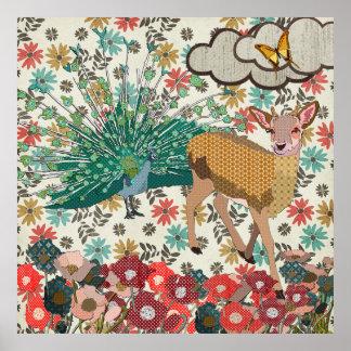 Cervos cor-de-rosa do ouro & poster floral do