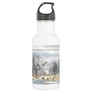 Cervos da aguarela na garrafa de água das madeiras