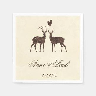 Cervos da aguarela que Wedding o guardanapo