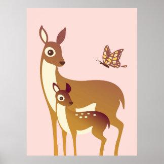 Cervos da mamã e do bebê com poster da borboleta