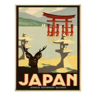 Cervos de Japão Sika do vintage, cartão do viagem