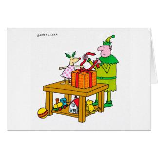 Cervos do azevinho com o cartão do Xmas do duende
