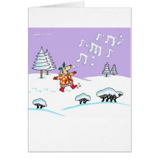 Cervos do azevinho no cartão completo do Xmas da