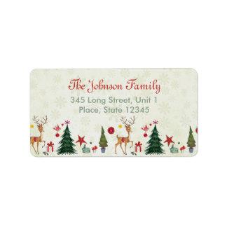 Cervos do Feliz Natal & etiquetas de endereço das