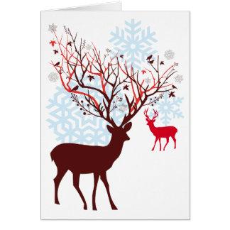 Cervos do Natal com os antlers do ramo de árvore Cartão