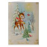 Cervos do Natal do bebê do vintage Cartao
