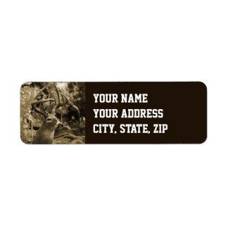 Cervos do troféu etiqueta endereço de retorno
