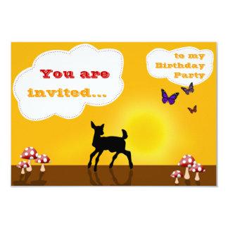 Cervos doces - cartão do convite do aniversário convite 8.89 x 12.7cm