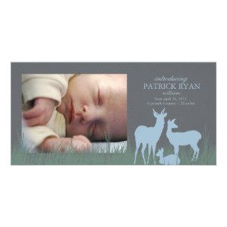 Cervos em um anúncio do nascimento do campo cartões com foto