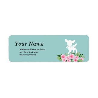 cervos, etiquetas florais do endereço do remetente