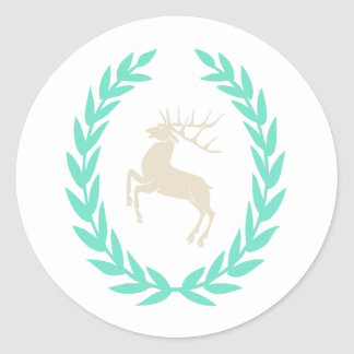 Cervos na grinalda da vitória, louro adesivo em formato redondo