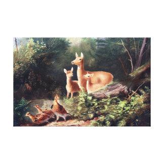 Cervos na pintura do vintage das madeiras