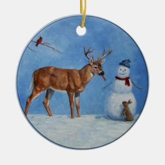 Cervos & Natal engraçado do boneco de neve Ornamento De Cerâmica Redondo