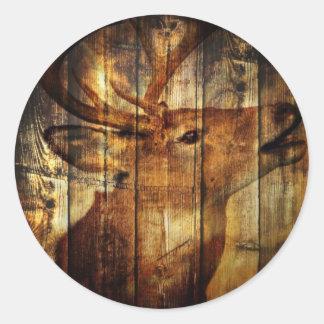 Cervos rústicos do woodgrain do celeiro do país do adesivos em formato redondos