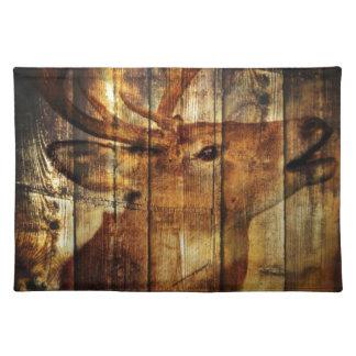 Cervos rústicos do woodgrain do celeiro do país do suporte para pratos
