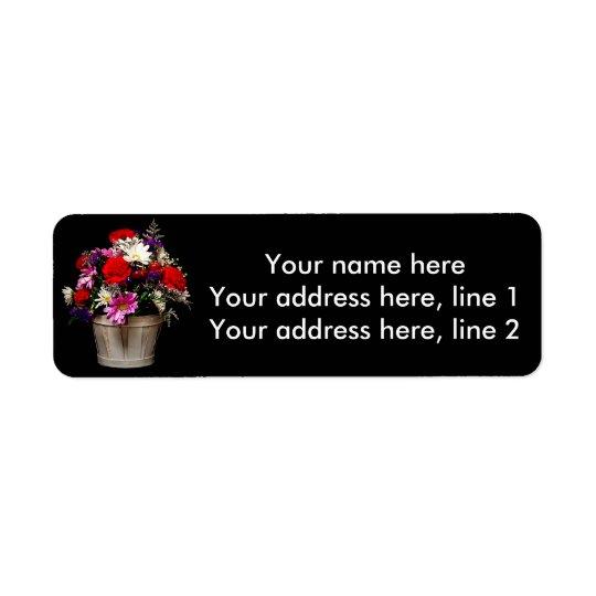 Cesta das flores etiqueta endereço de retorno