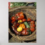 Cesta das frutas e legumes no lugar impressão