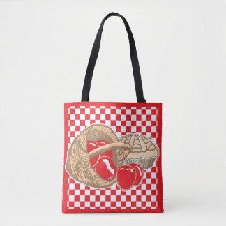 Cesta de maçãs vermelhas & de sacola Checkered da Bolsa Tote