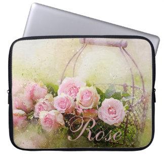 Cesta do rosa do rosa capa de notebook