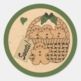 Cesta do verde dos homens de pão-de-espécie   adesivo redondo