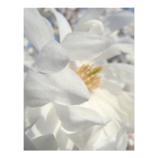 Céu azul do desenhista branco do cabeçalho da flor papéis de carta personalizados