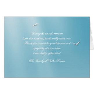 Céu azul obrigado dobrado do falecimento você cartão de nota