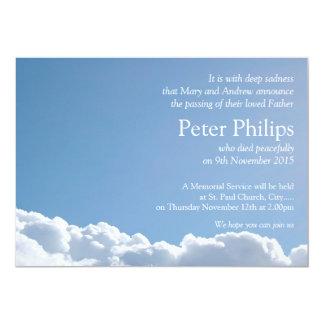 Céu calmo 2 com anúncio do funeral do poema convite 12.7 x 17.78cm