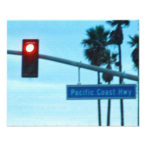 Céu da praia de Califórnia do sinal da estrada da  Panfleto