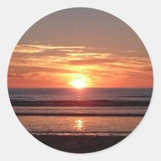 Céu ensolarado da laranja do por do sol do verão adesivo