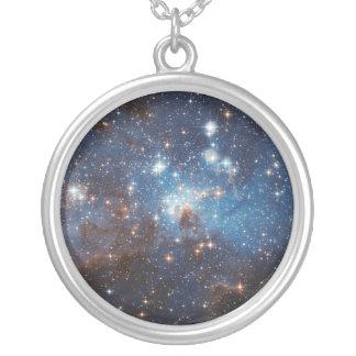 Céu estrelado colar banhado a prata