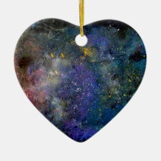 Céu estrelado - orion ou cosmos da Via Láctea Ornamento De Cerâmica Coração