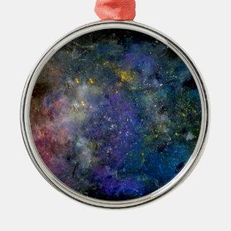 Céu estrelado - orion ou cosmos da Via Láctea Ornamento Redondo Cor Prata