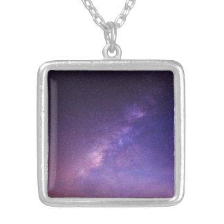 Céu nocturno claro legal impressionante colar com pendente quadrado